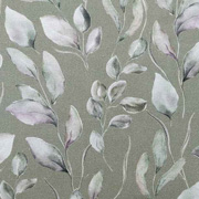 Canvas Stoff Blätter Digitaldruck, flieder grüngrau helles khakigrün