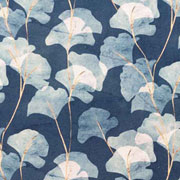 Canvas Stoff Ginkgoblätter Digitaldruck, nude jeansblau indigoblau