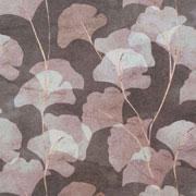 Canvas Stoff Ginkgoblätter Digitaldruck, altrosa ecrue auf mattem braun