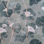 Canvas Stoff Ginkgoblätter Digitaldruck, beige dunkelgrün khakigrün