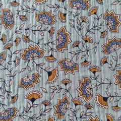 Musselin Stoff Kelchblumen Double Gauze, ockergelb blau mint
