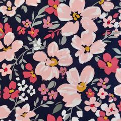 Viskose Twillstoff Blumen elastisch, altrrosa dunkelblau