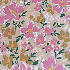 Viskose Twillstoff Blumen elastisch,grün rosa hellbeige