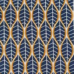 Baumwollstoff Stretch Blättermuster Allover, ockergelb ecrue dunkelblau