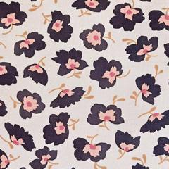 Viskosestoff Blumen, schwarz altrosa auf hellbeige