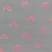 Reflektorstoff Regenbögen Meterware, pink silbergrau