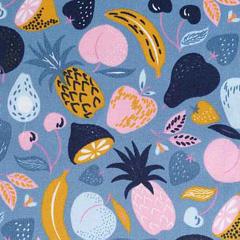Baumwollstoff Ananas Äpfel Bananen beschichtet, jeansblau