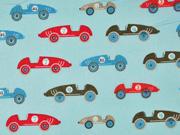 Baumwollstoff Rennautos Retro Autos, hellblau