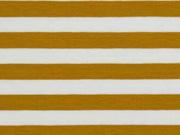 Jersey Streifen 1 cm, ocker weiß