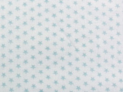 Popelin Mini Mini Sternchen- eisblau auf weiss