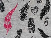 RESTSTÜCK 50 cm anger. Sweat Feathers Federn, grau-melange/pink