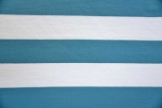 RESTSTÜCK 94 cm Jersey Blockstreifen weiß eisblau