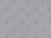RESTSTÜCK 31 cm Baumwollstoff Quadrate Rauten Squares, grau