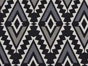 RESTSTÜCK 38 cm Canvas Aztec Ethnomuster, schwarz/taupe