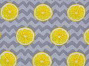 RESTSTÜCK 76 cm Baumwollstoff Zitronenscheiben & Zickzack, grau
