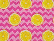 RESTSTÜCK 76 cm Bwaumwollstoff Zitronenscheiben & Zickzack, pink