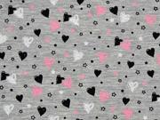 Jersey Sweet Hearts, grau melange