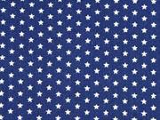 Baumwollstoff Sternchen Mini Stars, weiß dunkelblau