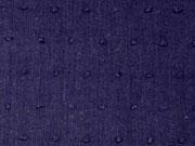 RESTSTÜCK 40 cm weicher Batist beflockt Punkte, dunkelblau