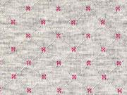 Gesteppter Jersey Doubleface, pink/grau melange