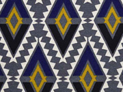 Canvas Aztec Ethnomuster, grau/blau