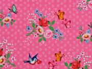 BW Blumen und Vögel, pink