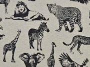 Canvas Tiere aus Afrika, schwarz/natur