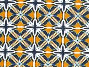 Viskosejersey grafisches Muster, senfgelb khaki