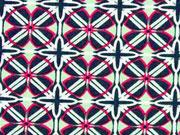 Viskosejersey grafisches Muster, mint dunkelblau