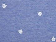 RESTSTÜCK 88 cm Jersey Streifen & Teddybär Gesichter, blau weiß