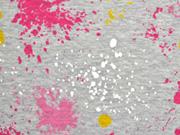 RESTSTÜCK 26 cm Steppjersey Farbkleckse, pink hellgrau meliert