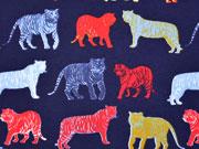 RESTSTÜCK 43 cm Jersey bunte Tiger by Poppy, dunkelblau