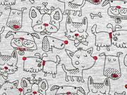 Jersey Woof woof Doodle Hunde, grau melange