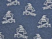Reststück 65cm angerauter Sweat Segelboote dunkelblau melange
