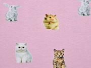 Jersey Digitaldruck Katze & Friends , rosa
