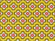 Baumwolle kleine Retroblumen, senfgelb