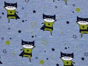 Jersey Superhero Katzen, hellblau melange