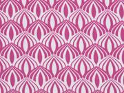 Baumwollstoff Zwiebelmuster, mattes pink weiß
