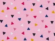 Sweatstoff French Terry  bunte Dreiecke, rosa