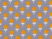 Reststück 90cm Jersey Tulpen, ocker grau