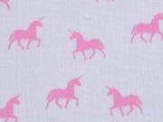 RESTSTÜCK 60 cm Double Gauze Einhorn, rosa auf weiß