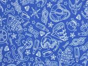 Wasserabweisender Stoff maritime Motive, blau