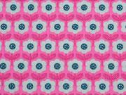 Baumwollstoff Retroblumen, pink