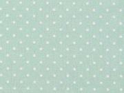 Baumwollstoff kleine Punkte beschichtet Petite Dots, weiß hellgrün