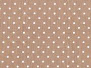 Baumwollstoff  kleine Punkte Petite Dots, weiß hellbraun