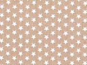 Baumwollstoff Mini Stars kleine Sterne, hellbraun