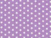 Baumwollstoff kleine Sterne Mini Stars,weiß flieder