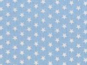 Baumwollstoff kleine Sterne Mini Stars, weiß hellblau