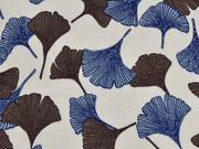 Leinen Viskose Ginkoblätter, dunkelblau braun