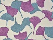 Leinen Viskose Ginkoblätter, mint flieder